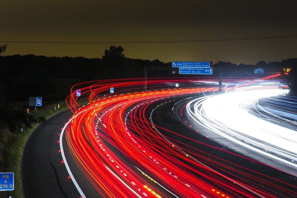 長時間露出車ライト
