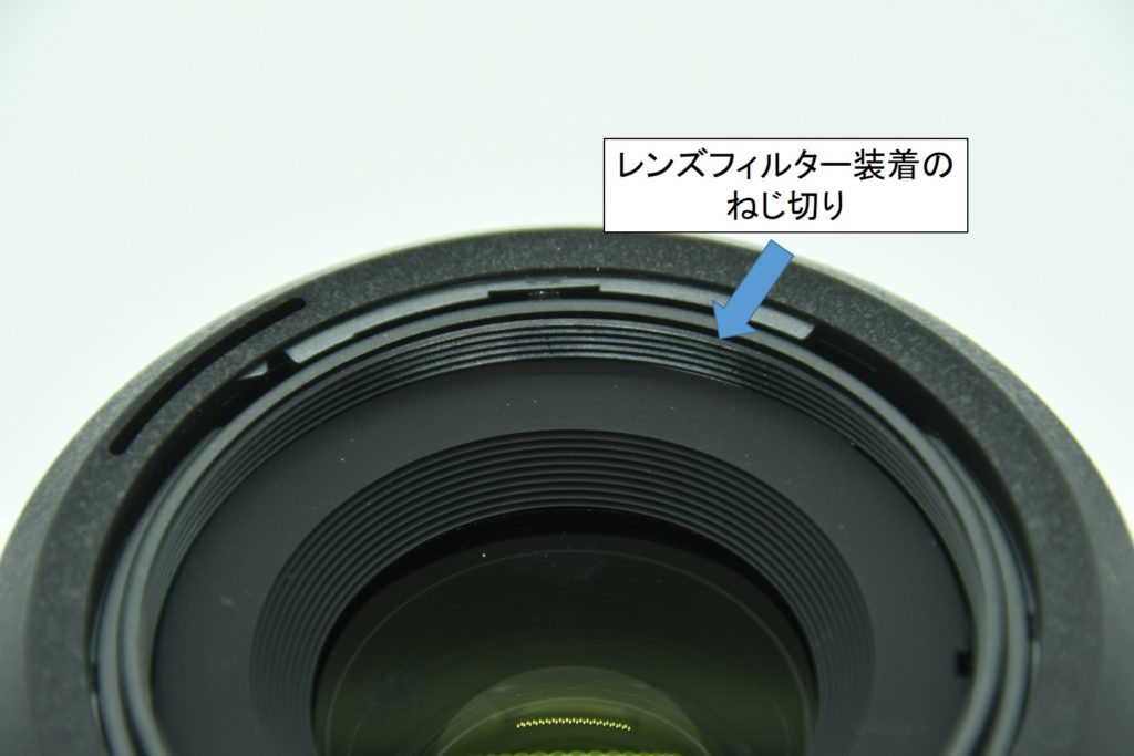 レンズフィルターを装着するための溝
